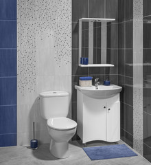 A luxury interior of modern bathroom with sink and toilet