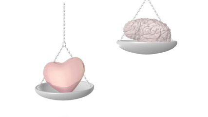 Heart versus mind weighing up a decision.