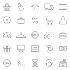 Shopping line icons set.Vector
