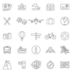 Vacation line icons set.Vector