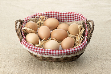 Egg Basket over Jute Background