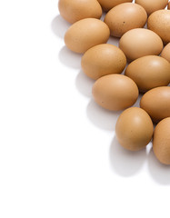 Vertical image of eggs with shadows isolated