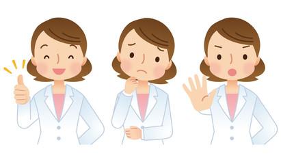 女性医師 医療 表情 セット