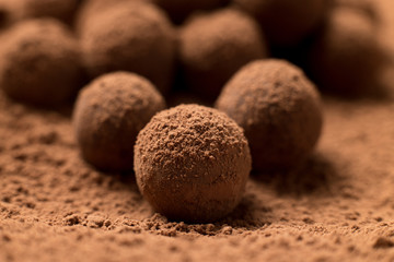 Group of round dark chocolate truffles