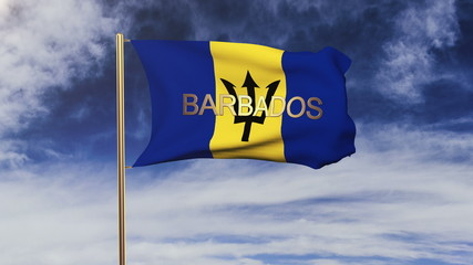 Barbados flag with title waving in the wind. Looping sun rises