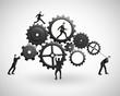 five businessman runs  gears