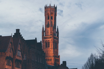 Belfry Tower of Bruges Illuminated at Dusk