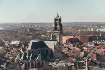 Overview of Sint-Salvator Cathedral in Bruges