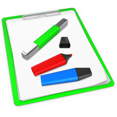 3d green  pad holder with markers