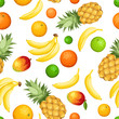 Seamless background with tropical fruits. Vector illustration.