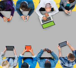 Business People Meeting Technology Digital Devices Concept