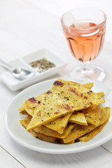 socca, farinata, chickpea pancake with rose wine
