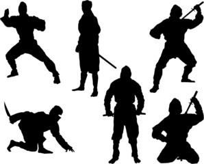 The set of 6 vector ninja silhouette