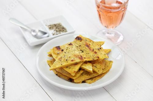 socca, farinata, chickpea pancake with rose wine - 80727067