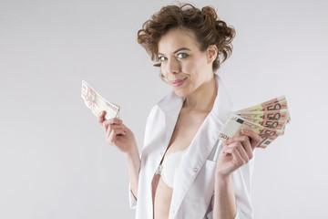 sexy european woman holding euro money banknote