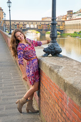 Happy young woman  in florence