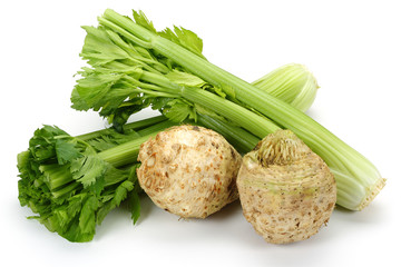 Celery root and leaves