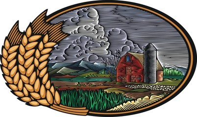 Organic Farm Vector Illustration in Woodcut Style