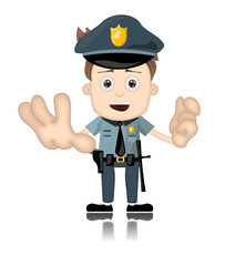 Ben Boy Friendly Angry Police Man Officer Cartoon Character