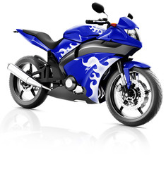 Motorcycle Motorbike Bike Riding Rider Contemporary Blue Concept