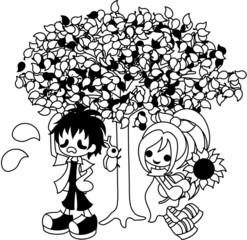 暑い日に木の陰で休んでいる少年と少女。