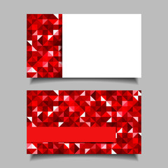 Business card with red mosaic pattern. Vector EPS-10.