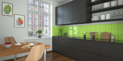 modern kitchen - black - shot 1