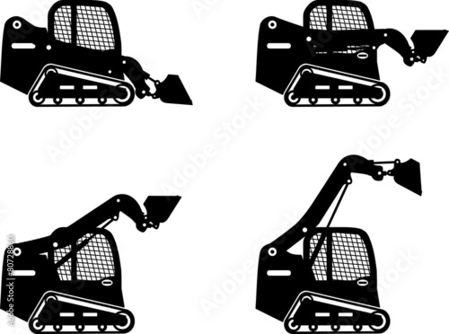 Skid steer loaders. Heavy construction machines. Vector - 80728860
