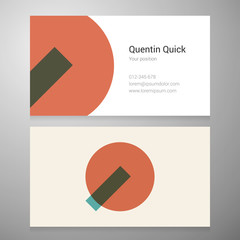 Vintage letter Q icon business card template