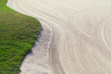 Sand bunker on the golf course