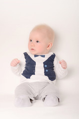 Baby sit on a white background