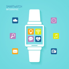 Smartwatch wearable device with apps icons flat design