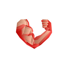 Polygonal red bodybuilder's hand with biceps in heart shape.