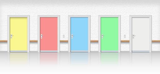 Türen, Türreihe im Krankenhaus, Warteraum, Umkleidekabine