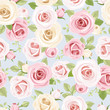 Seamless pattern with pink and white roses on blue. Vector