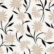 Seamless pattern with beige flowers and black leaves. Vector