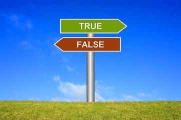 Schild Wegweiser: True False