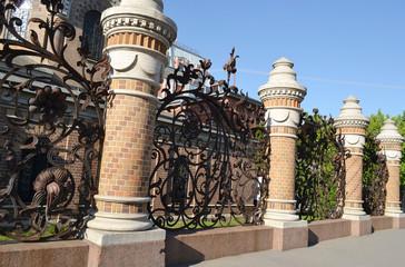 Decorative iron fence.