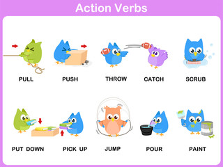 Action Verbs Picture Dictionary (Activity) for kids