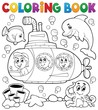 Coloring book submarine theme 1 - 80732689