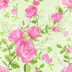 Retro floral pattern with roses