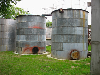 Old industrial rusty tanks for chemicals