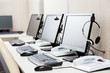 Computers With Headphones On Desk - 80733468