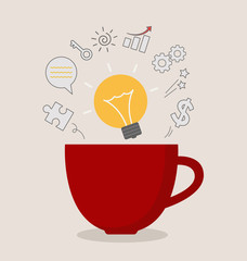 red coffee cup with light bulb idea business inspiration vector