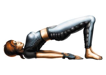 Woman in the Yoga Bridge Pose (Setu Bandhasana)
