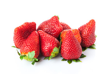 strawberries  on a white background. Ripe strawberries isolated