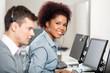 Leinwanddruck Bild - Female Employee Working In Call Center