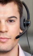 Handsome Customer Service Representative Wearing Headset