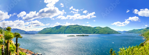 Plexiglas Meer Lago Maggiore Panorama Blick auf die Brissago Inseln