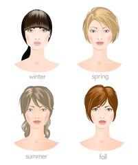 Seasonal female types. Vector
